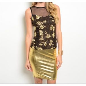 Sale Gold Floral Top Skirt Set